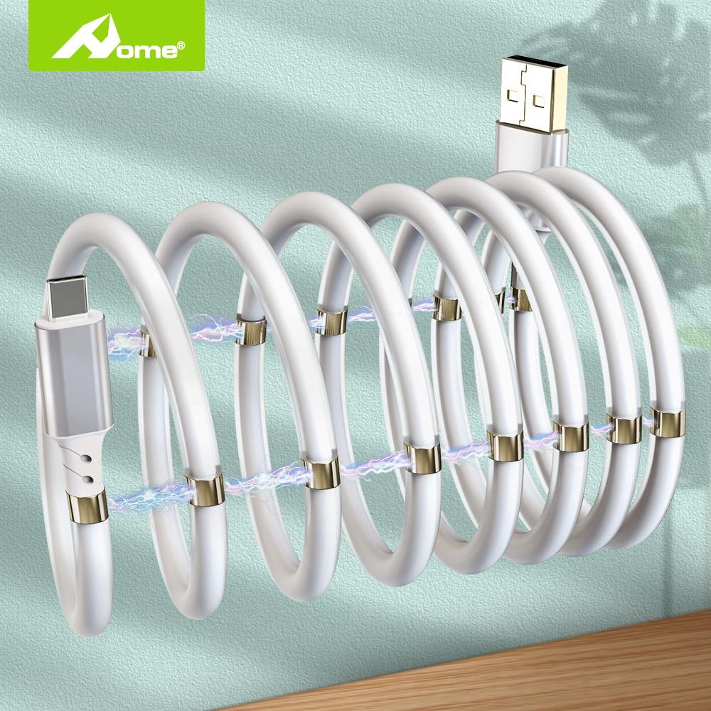 Cable USB magnético para iPhone 2.4A, Cable de carga automática USB a...
