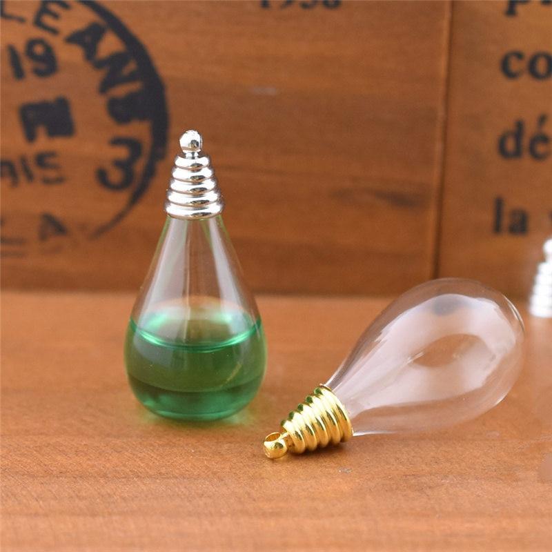100 ensemble 30x18mm verre globe avec pagode forme bouchon ensemble verre bulle fond rond verre vase collier pendentif