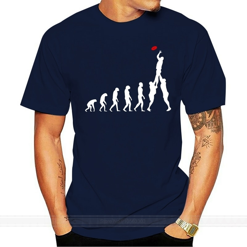 Camiseta con estampado de Rugby Evolution of Man, camisetas divertidas a la moda para hombre