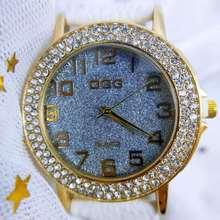 Reloj Mujer Ladies Jewelry Quartz Wrist Watch Shiny Diamond Crystal Frosted Watch Leather Strap Stai