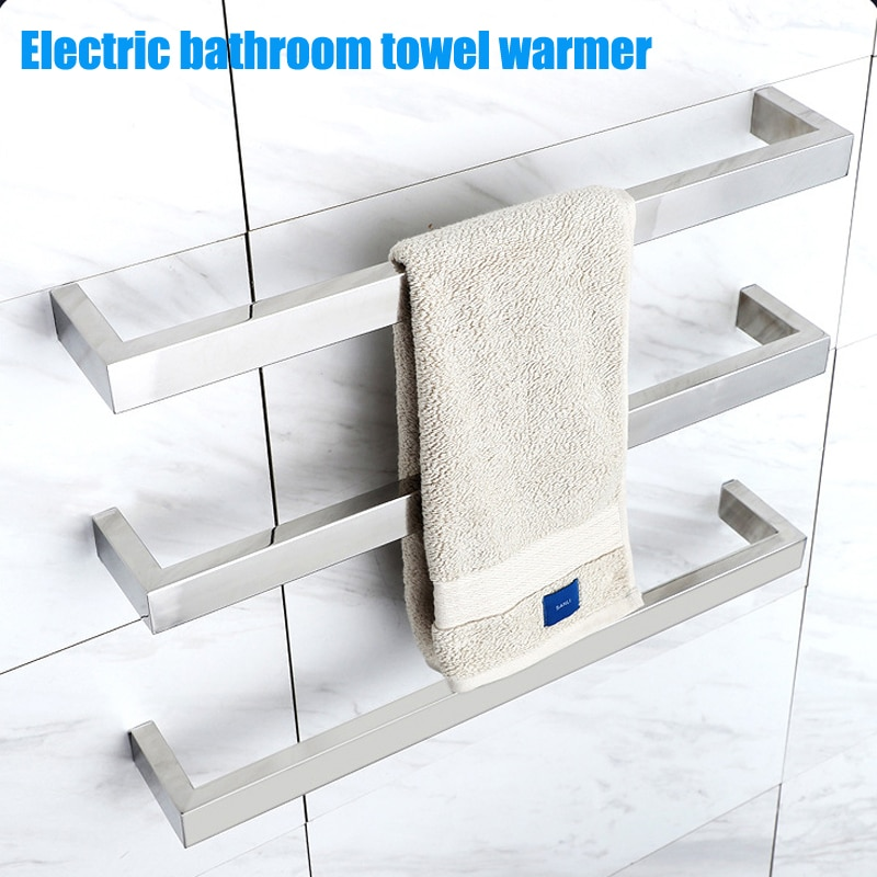 رف مناشف حمام كهربائي, أنبوب مربع ، قضيب واحد سخان مناشف حمام كهربائي 304 من الفولاذ المقاوم للصدأ