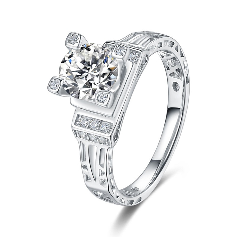 Women S925 pure platinum 1ct Mossan diamond ringEiffel Tower shape party Anniversary Gift Ring fashion jewelry High-end серьги