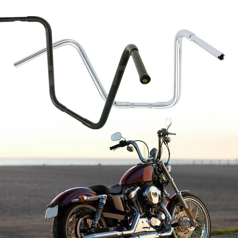 "Manillar elevado tipo manillar para motocicleta de 1-1/4 "", 10"", 12 "", 14"", 16 ""y 18"", manillar Ape Hanger para Harley FLST FXST Sportster XL en Cromo/negro"