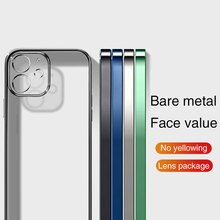 Plating Square Frame Matte Soft Silicone Case On for iPhone 11 12 Pro 12 Mini XR X XS Max Lens Prote