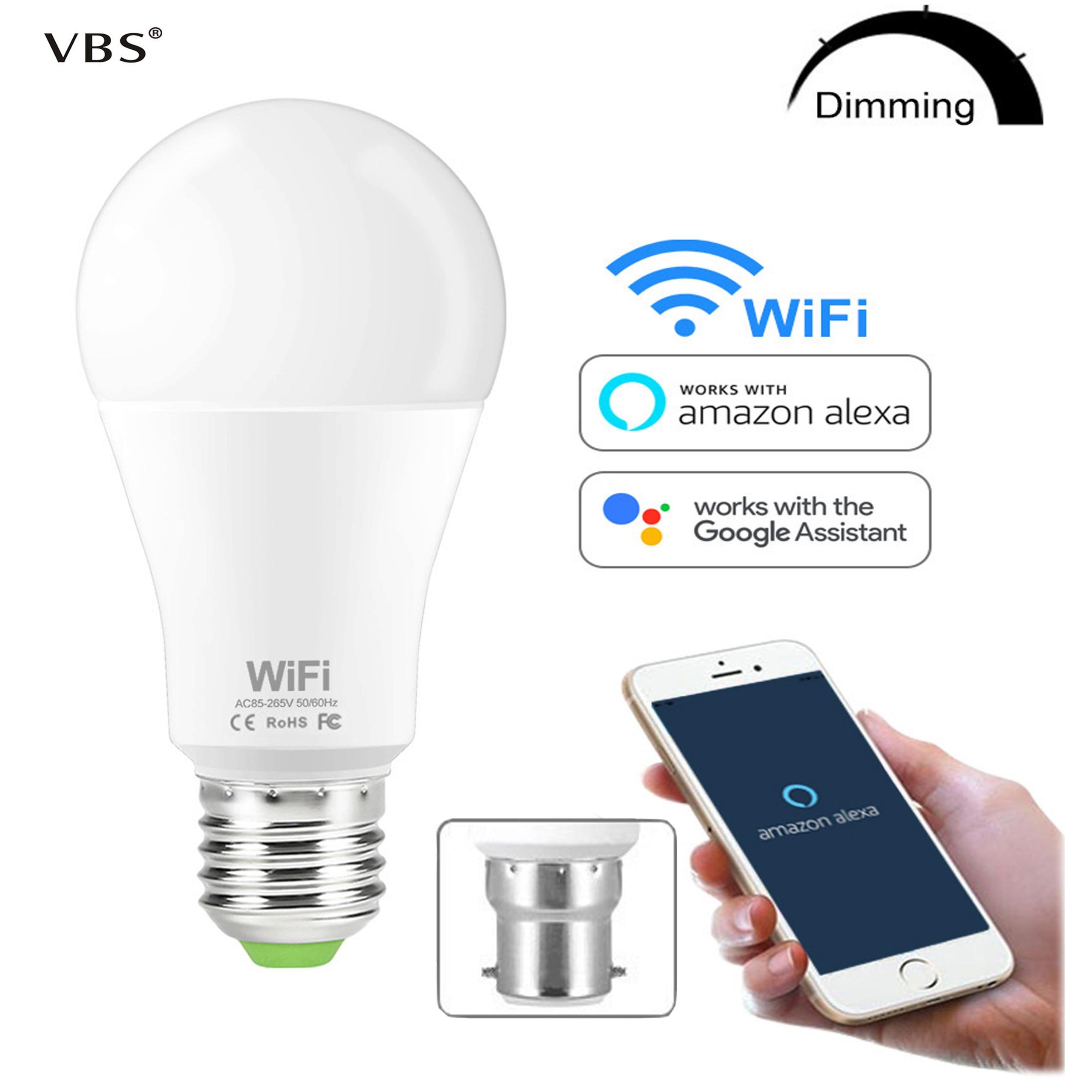 Bombilla inteligente WIFI, bombilla LED de brillo regulable, 15 W, E27, B22, Amazon, Alexa, Google Home, IOS/Android, lámpara LED de Control remoto