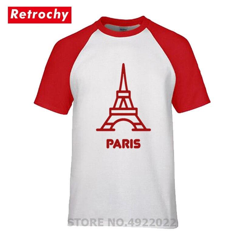 Elegante París memoria camiseta ciudad recuerdo Francia Torre Eiffel camiseta hombres cuello...