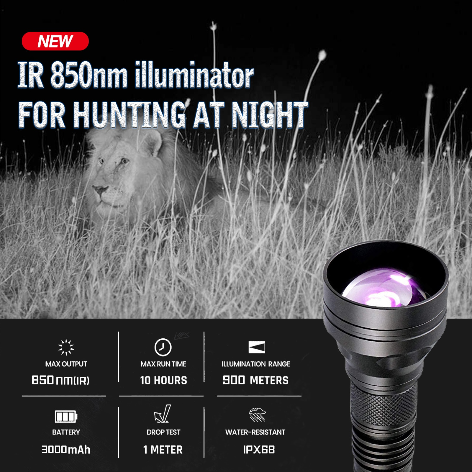 Skywalker UC-50 Laser infrared illuminator VCSEL 850nm IR night vision flashlight 900m enlarge