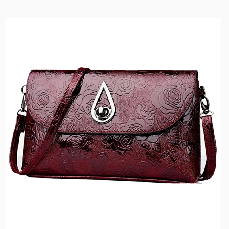 Retro Rose Flower Embossed Sling Bags Elegant Mother Single Shoulder Purse Flap Crossbody Bag Ladies Party Purse Bag
