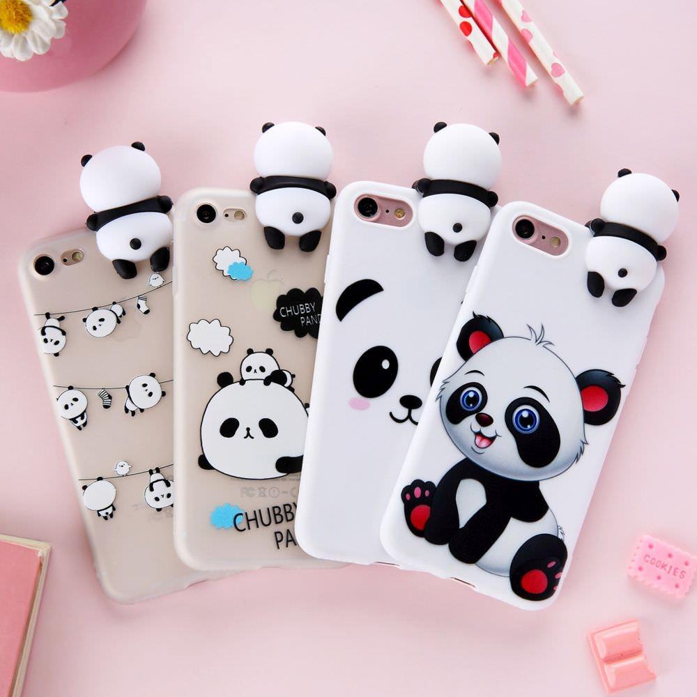 Bonita funda de Panda para Iphone Xr Xs Max X 8 7 Plus 6 6s 3D, bonita funda de teléfono blanda de dibujos animados de osos, para Iphone SE 2020 5 5s