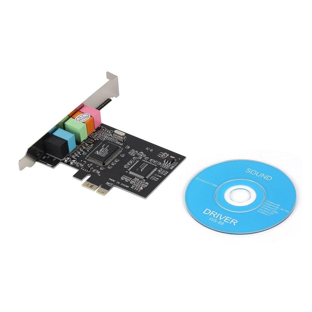 Mais novo pci express x1 pci-e 5.1ch cmi8738 chipset placa de som digital de áudio