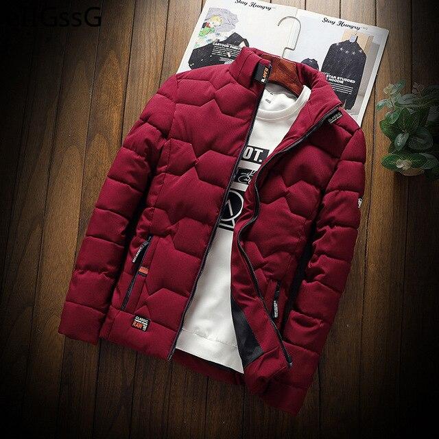 Мужская зимняя куртка, новинка 2021, мужская повседневная утепленная хлопковая куртка, приталенная одежда, Молодежная однотонная куртка, Муж...