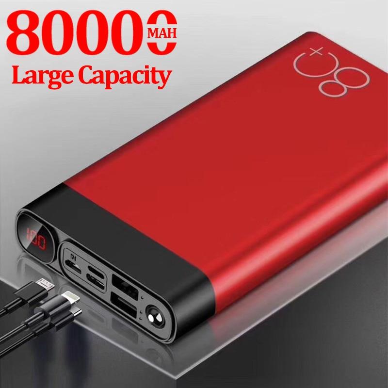 80000mAh Power Bank carica rapida di grande capacità 2 ricarica rapida USB per IPhone Xiaomi Samsung Powerbank portatile