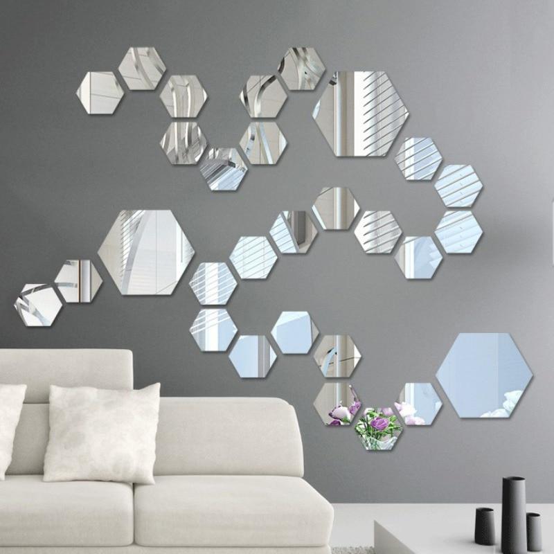 12 piezas de pared de acrílico espejo pegatinas adhesivo extraíble Hexagonal espejo decorativo hoja hogar RoomBedroom Decoración