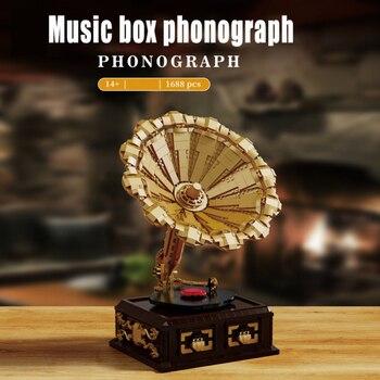 Creative Expert Ideas Classic Retro Phonograph Music Box 91002 1688pcs Moc Bricks Modular Model Building Blocks Collection Toys