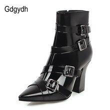 Gdgydh Sexy boucle bout pointu bottines talons blanc fête mariage chaussures femmes talons hauts Punk Rock extérieur chaussures grande taille
