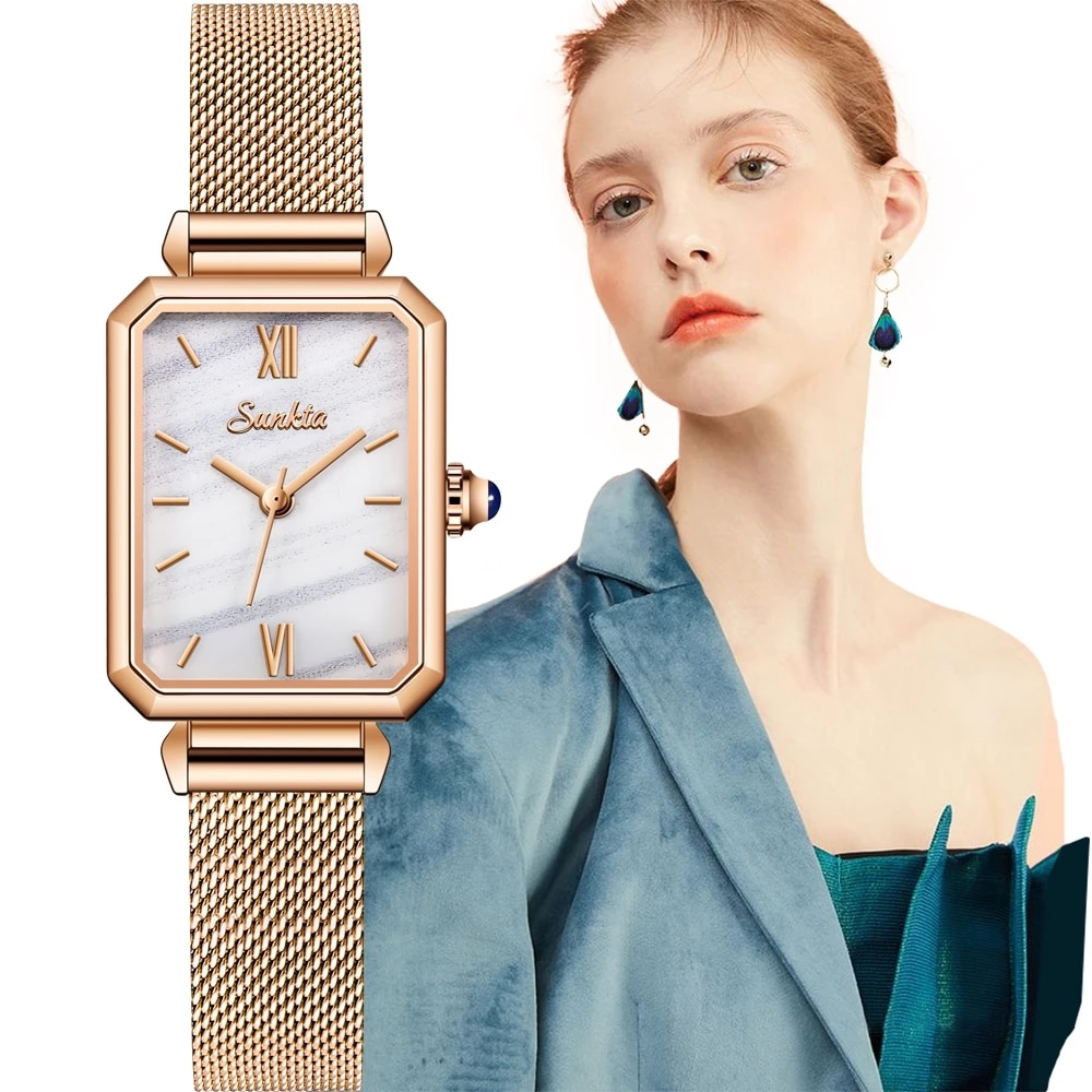 SUNKTA 2021 Drop Shipping Women Rose Gold Simple Fashion Casual Brand Wristwatch Luxury Lady Square Watches Relogio Feminino+Box enlarge