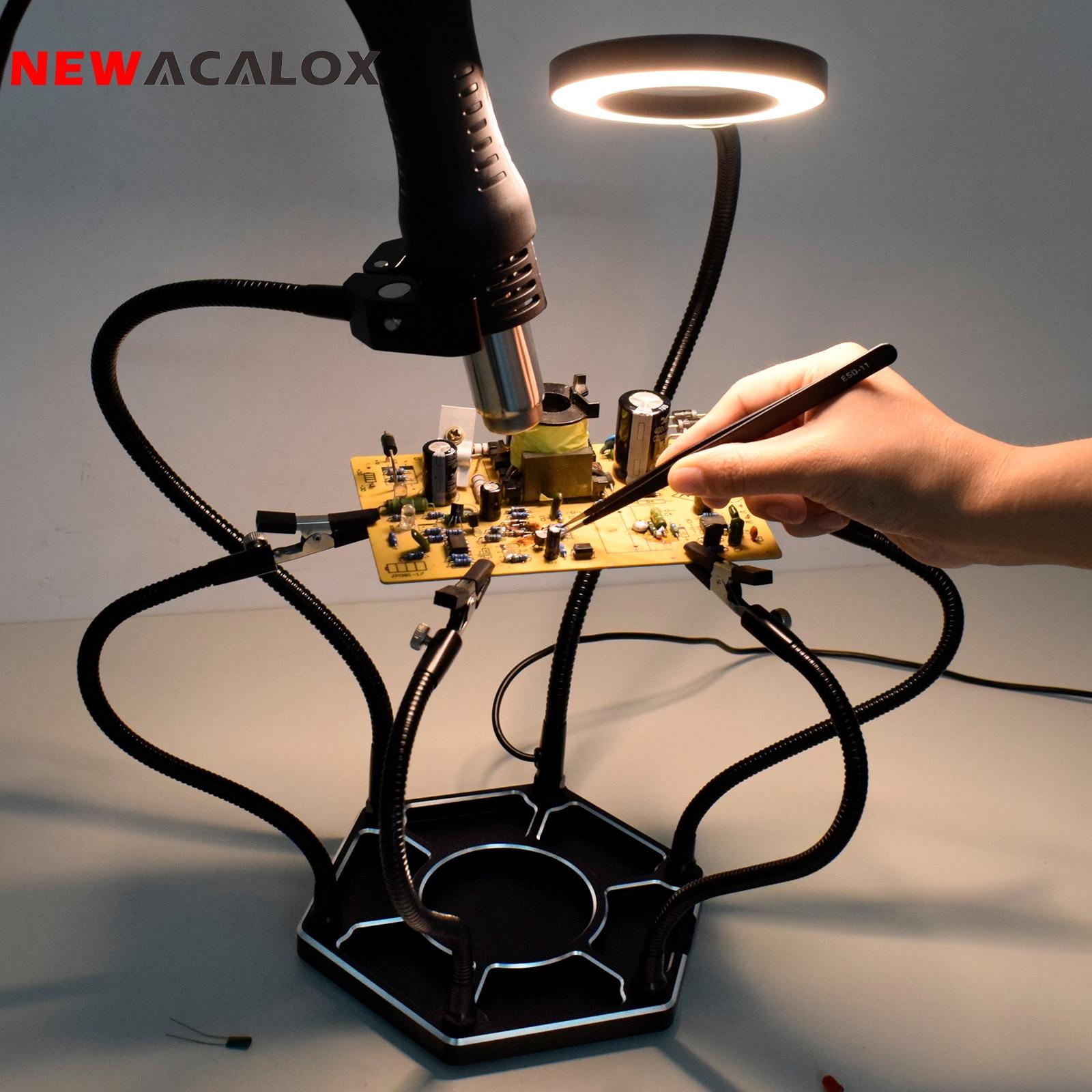 Паяльная станция NEWACALOX, третья рука, USB 3X LED, увеличительное стекло, с шариком для сварки и очистки, с держателем для термофена