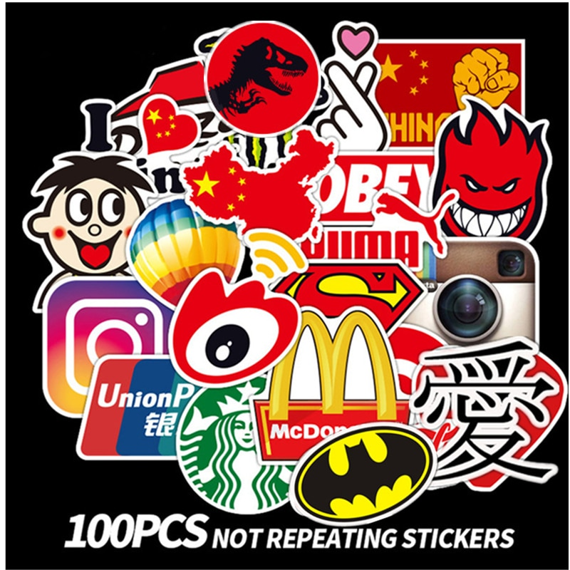100Pcs Tide Logo Fashion Brand Graffiti Stickers Guitar Laptop Macbook Water Cup Luggage Fridge Skat