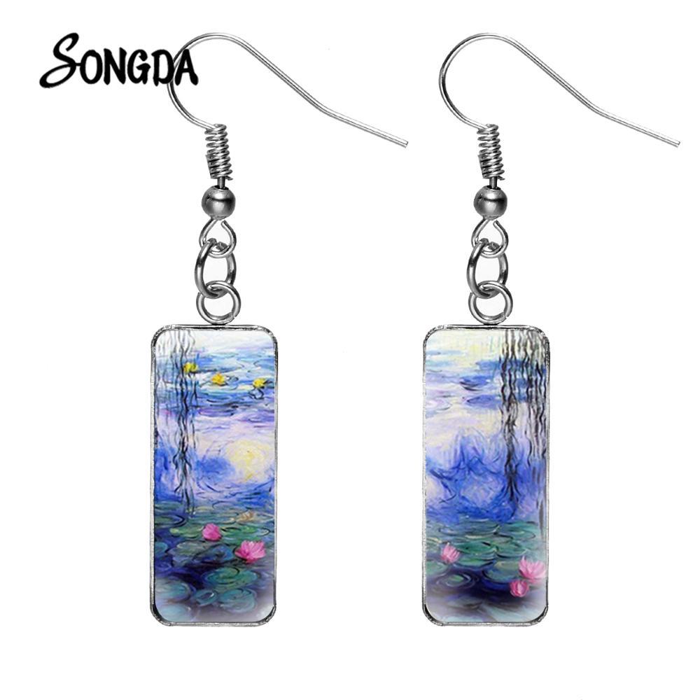 Pendientes colgantes hechos a mano con pintura al óleo de lirio de agua Monet Retro, imagen artística, cabujón de cristal, Pendientes rectangulares con gancho de pez
