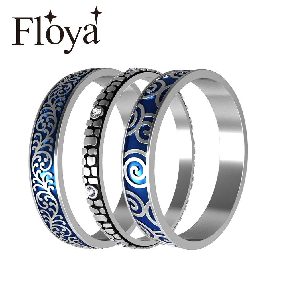 Floya, anillos apilables, banda rellena de ancho, combinación de anillos de acero inoxidable para mujeres, banda intercambiable para chicas