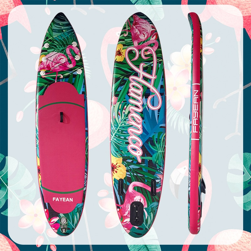 AddFun Flamingo Surfboard InflatablePaddle Board Paddle Board Adult Floating Board Standing PVC Surfboard Aluminum Alloy Paddle