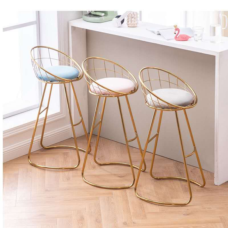 Bar stool modern wrought iron household furniture simple high stool Nordic backrest chair makeup ins soft bag dressing chair