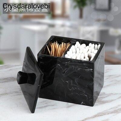 Marbled Resin Storage Box Cotton Swab Organizer Home Toothpick Holder Hotel Luxury Bathroom Cotton Pad Box with Lid