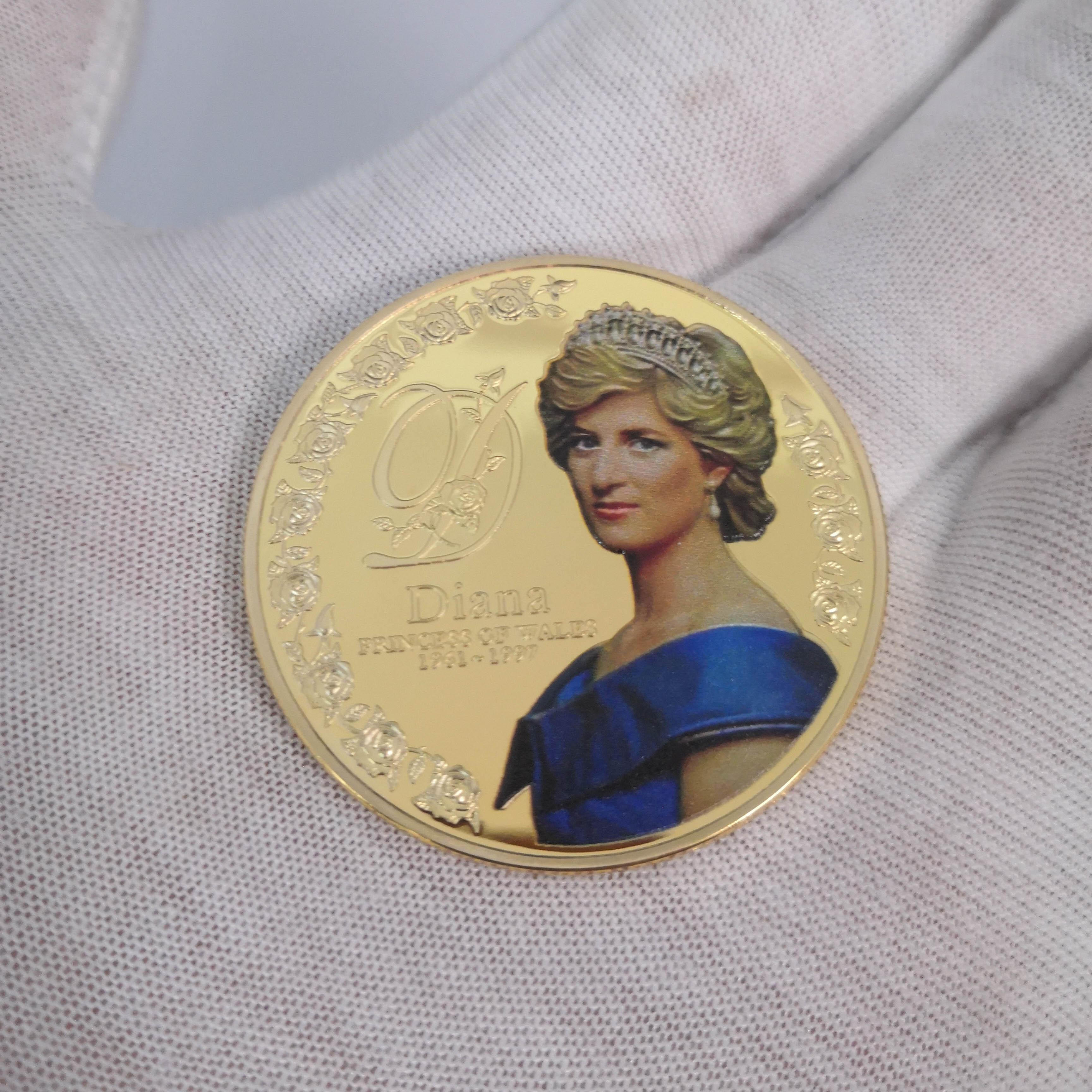 Pièce commémorative de la princesse Diana en métal plaqué or, Vintage, artisanat de Collection, cadeau souvenir