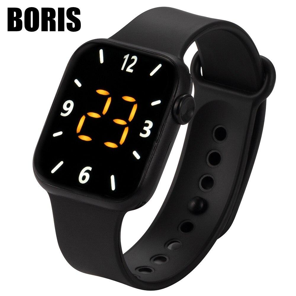 Спортивные Мужские Цифровые часы с силиконовым светодиодным дисплеем, электронные часы для мужчин и женщин, повседневные модные наручные ч...