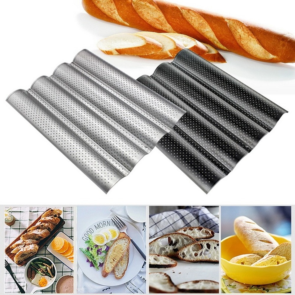 Bandeja perforada antiadherente para Pan francés, bandeja para hornear, tostada de molde para cocinar, molde para tostadora, bandeja plateada de acero para olas, MJ71605