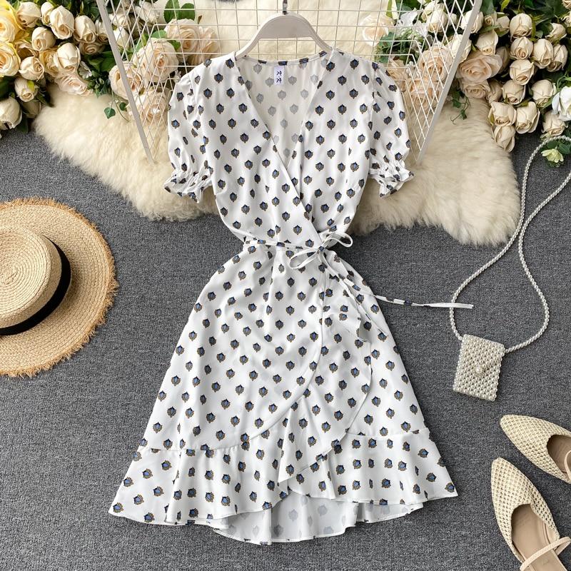 SINGRAIN Summer Polka Dot Dress Women V Neck Short Sleeves Pea Wrap Dresses Korean Style Vintage Robe Chic Holiday Vestidos