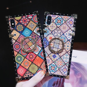 Luxury Square Blu-ray Ethnic Style Frame Case for Samsung S20 S8 S9 S10 plus A01 A50 A70 A71 A51 A21S Note 20 Soft Silicon Cover