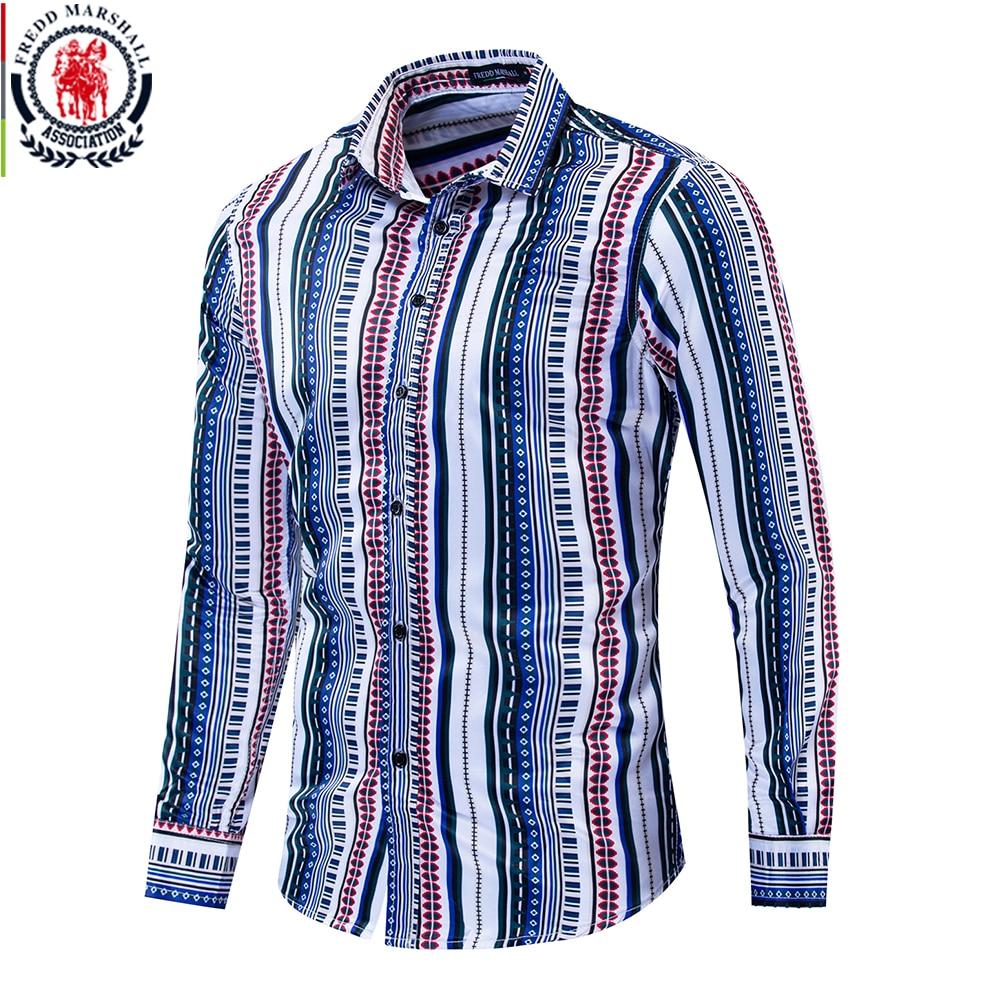 Fredd Marshall 2019 New Fashion Patchwork Shirt Men Long Sleeve 100% Cotton Striped Shirts Casual Stylish Streetwear for Men 212