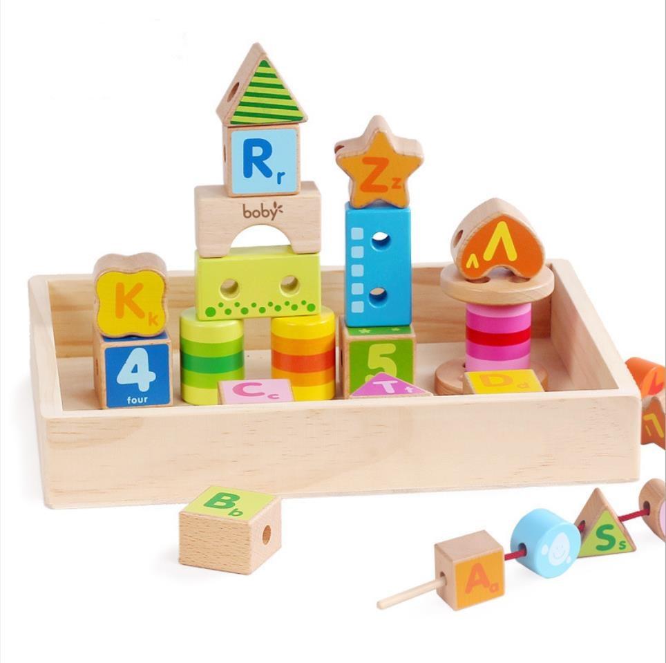 Haute qualité hêtre bois enfants connexion blocs de construction enfants Intelligence développement chaîne connexion blocs de construction jouets