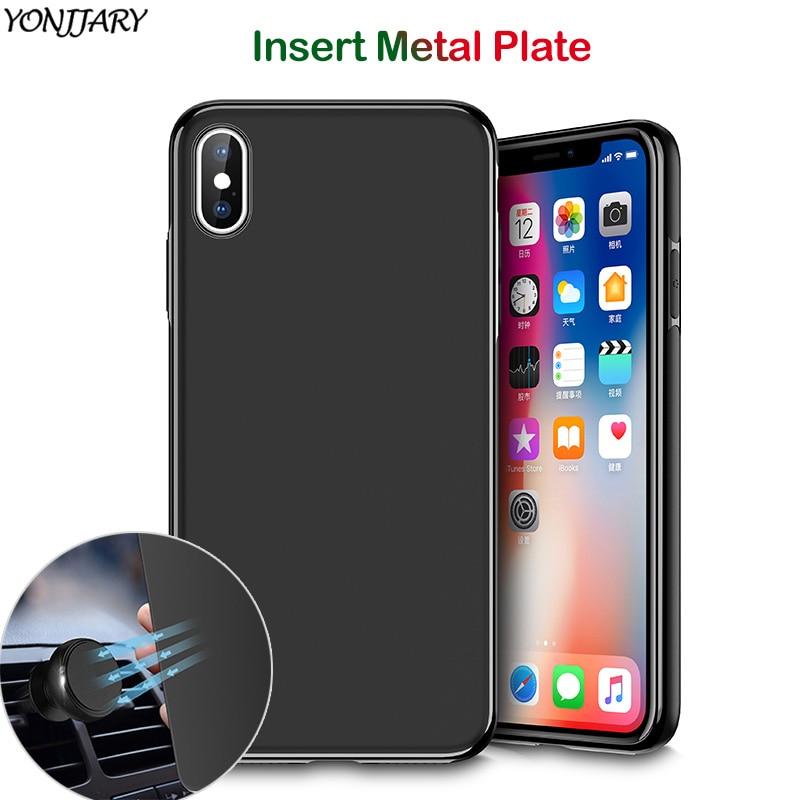 Funda magnética para iPhone SE 2020 SE2 11 Pro X XR XS Max 6 7 8 Plus, funda suave de TPU, placa de Metal de piel, soporte magnético para coche