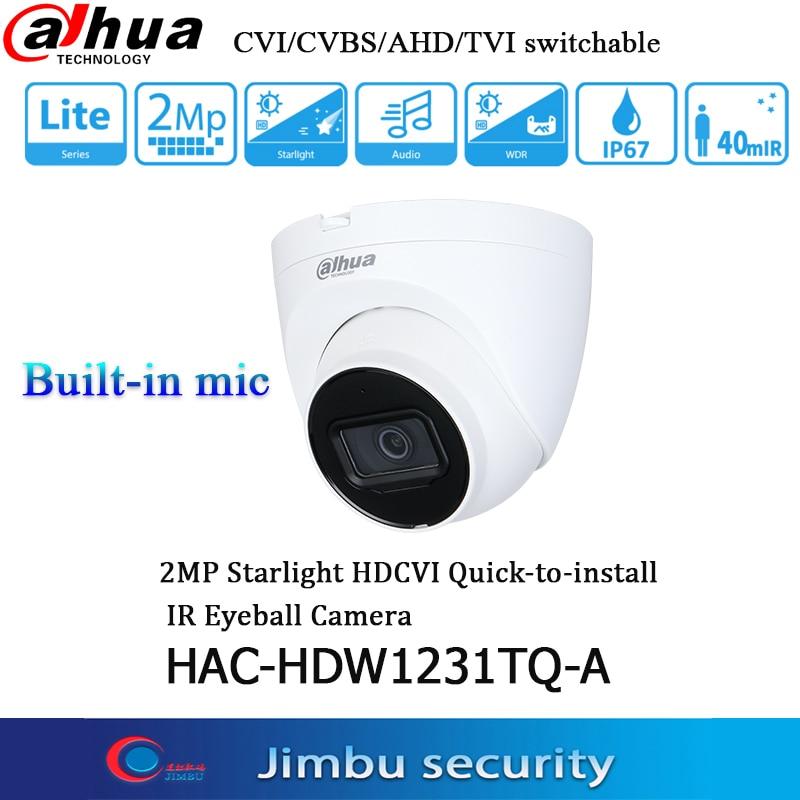 داهوا التناظرية كاميرا 2MP Starlight HDCVI HAC-HDW1231TQ-A الأشعة تحت الحمراء 40M IP67 CCTV ميكروفون CVI/CVBS/AHD/TVI للتحويل HDW1231TQ-A