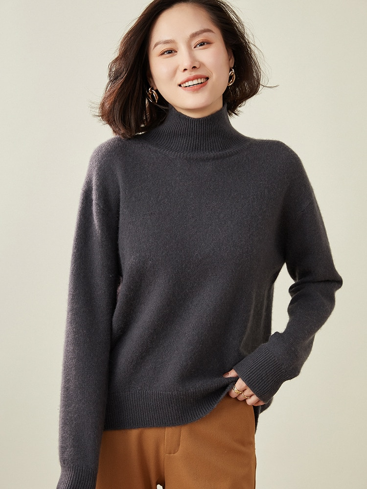 100% Cashmere Knitting Women Pullovers 2021 Winter New Fashion Stand-up Collar Long Sleeve Sweaters Ladies Loose Woolen Jumpers enlarge