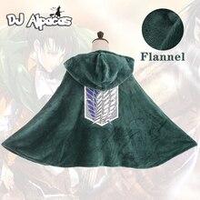 Manta de franela con capucha de ataque a los Titanes, capa de Shingeki No Kyojin, Cosplay