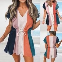 zogaa new womens 2021 summer loose casual v neck drawstring stripes contrast color short sleeved jumpsuit plus size
