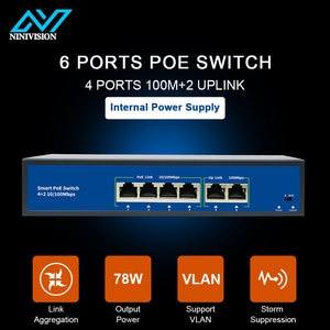 4 Port PoE switch for ip camera with 2 port 100M uplink 1 port SFP PoE Ethernet Switch PoE 52V switch