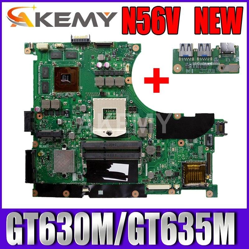 Akemy N56VJ/N56VM Laptop motherboard para ASUS N56VM N56VZ N56VJ N56V Teste mainboard original GT630M/GT635M-2G Suporte i3 i5 i7