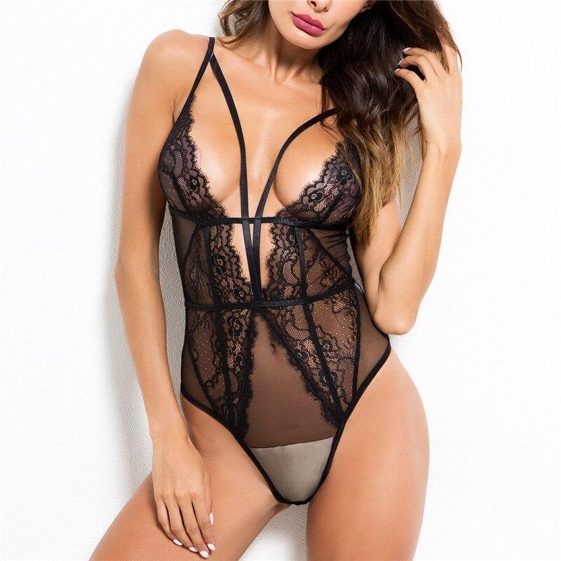 Europa negro mujeres encaje hueco Bodysuit Sexy Deep V Body Top corsé malla transparente monos Patchwork Feminino Playsuit