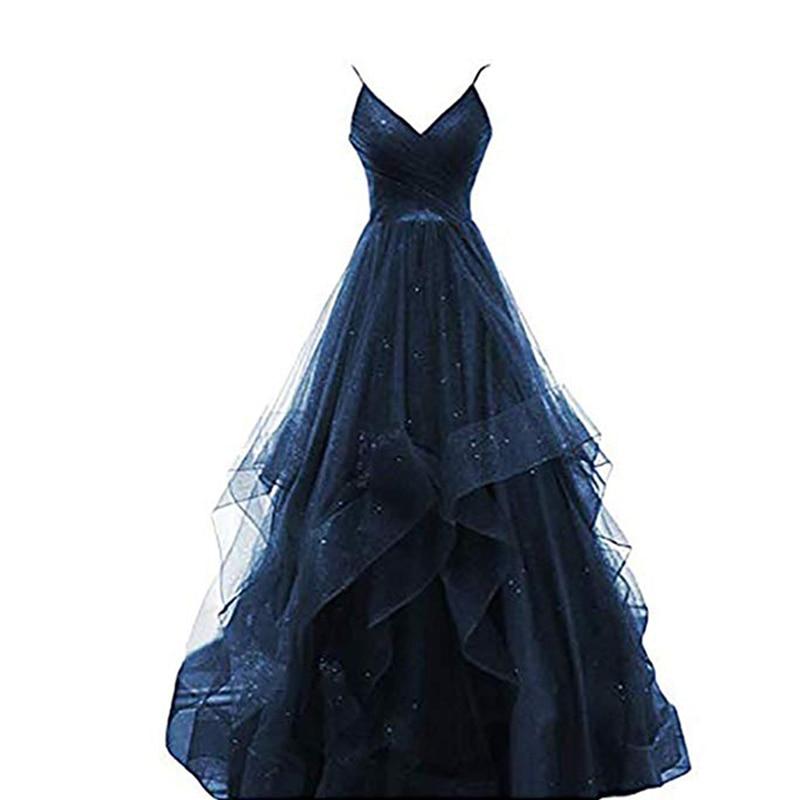 جديد مثير طويل السباغيتي حزام مساء اللباس موضة الخامس الرقبة فستان المضيف بلينغ مشرقة مأدبة حفلة موسيقية ثوب مسائي Vestido De Noche