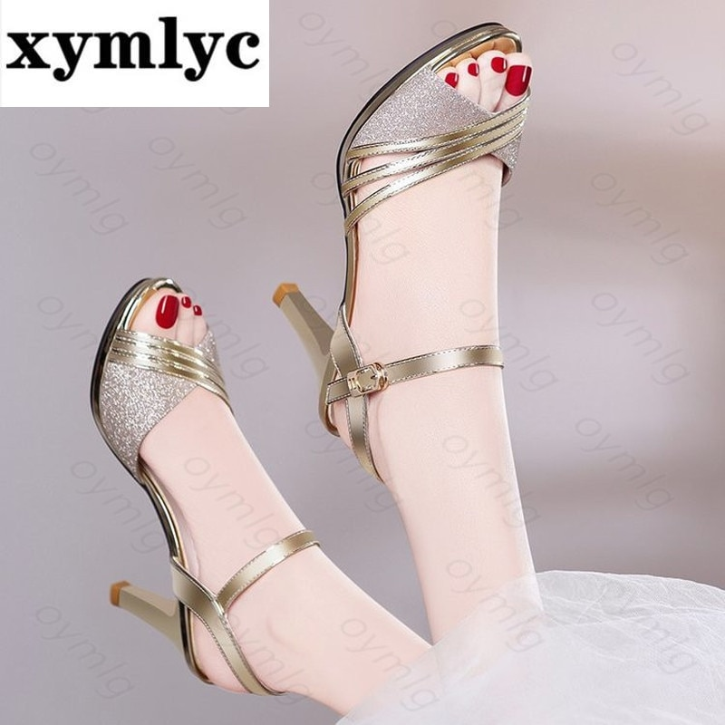 Women Sandals 2021Summer Shoes Woman Dress Shoes Bling Weddging Shoes Silver High Heels Pumps Ladies