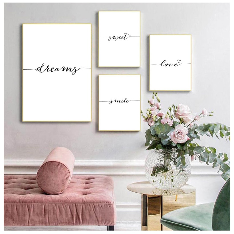 Картина на холсте с мотивами Love Smile Dream, Настенная картина в скандинавском стиле, декоративное изображение, Декор для дома и спальни