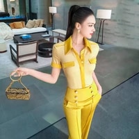 summer age reduction fashion 2021 new slim fashionable short sleeve shirt two piece suit with high waist and wide leg ethika