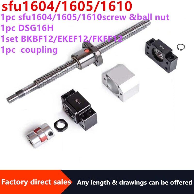 16MM tornillo de bola SFU1604/ 1605/1610End mecanizado + RM1604/1605/1610 solo husillo de bolas + BK12BF12/fkff12/ekef12 soporte de extremo + acoplador