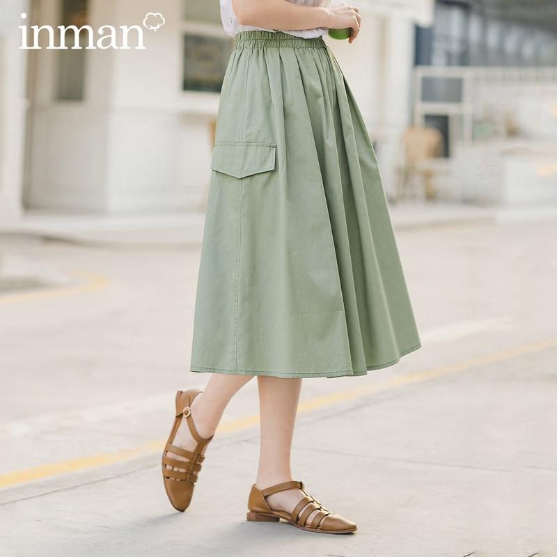 INMAN 2020 été nouvelle arrivée littéraire banlieue pur coton tout-match robe Style jupe