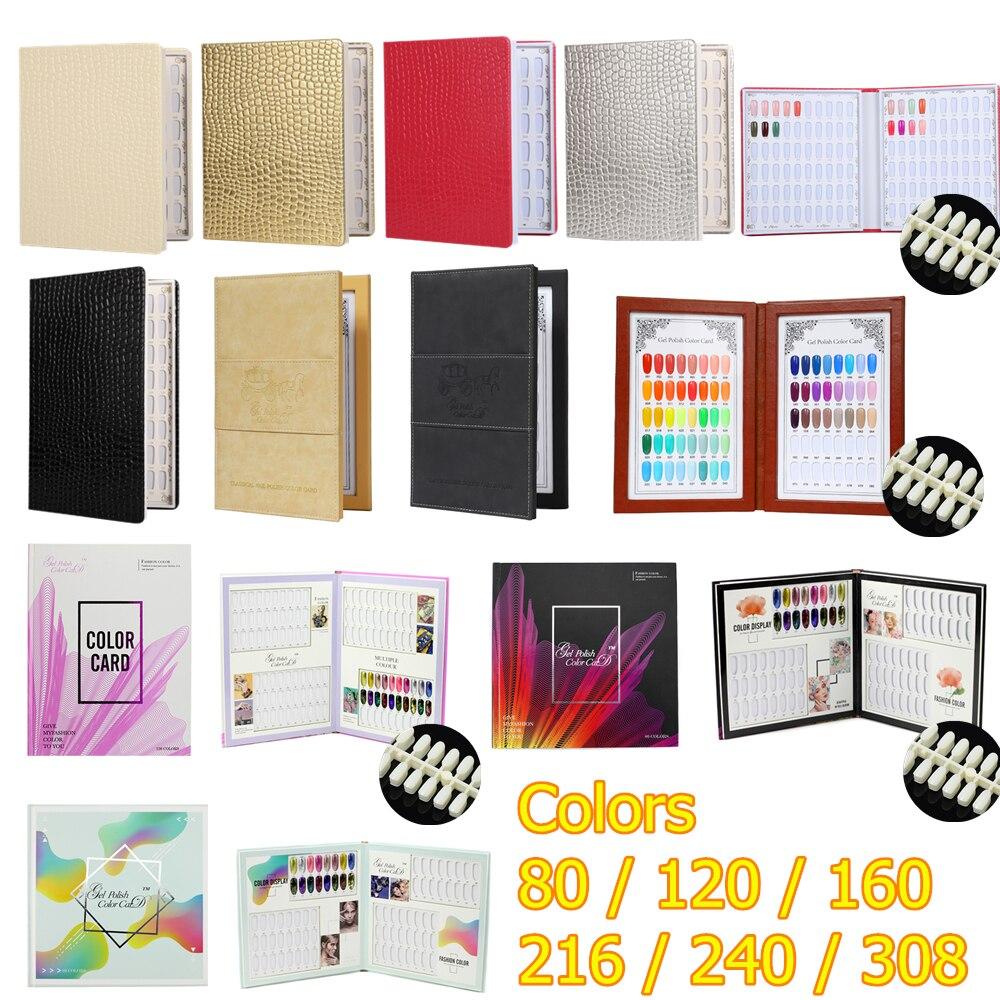 AliExpress - 80 120 240 308 Colors PU Paper Nails Tips Card Nails Tips Display Case Model Nail Gel Polish Color Box Nail Book