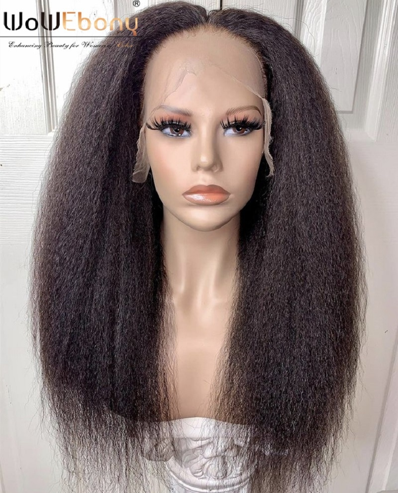 WoWEbony Lace Front Human Hair Wigs Brazilian Kinky Straight Wig 250 Density 13x1 T Part Lace Wig Pre Plucked Deep Part Wig